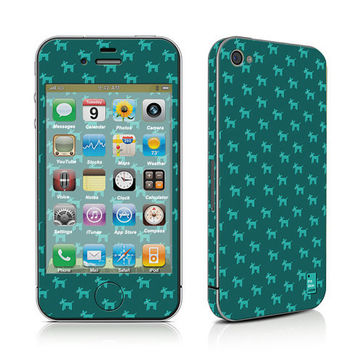 iPhone Decal Sticker, iPhone Cover, iPhone 4, iPhone 4S, PLUS Matching Wallpaper - Dogs Teal - Trendy Cute Dog Pattern Turquoise Women Teen