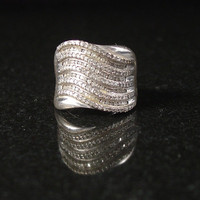 Sterling Silver Ring, Size 7, Pave CZ, Estate Jewelry, 11 Grams, QVC HSN Designer, Rhinestone Ring, Ring, Statement Ring