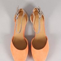 Tania-2 Glitter Ankle Strap Pointy Toe Flat