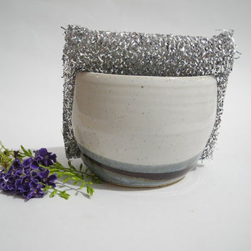 Kitchen Sponge Caddy, Napkin Holder, Sink Tidy, Sponge Cup Handmade Grey and White Pottery