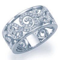 Art Deco Floral Wedding Ring Diamond Wedding Band Antique Style Anniversary Ring