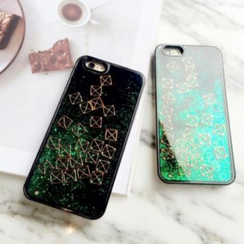 Hot Tetris/triangle pattern flash powder sequins flow for iphone6/6s/6plus/7/7plus cases drop silicone Liquid Glitter stars-0410