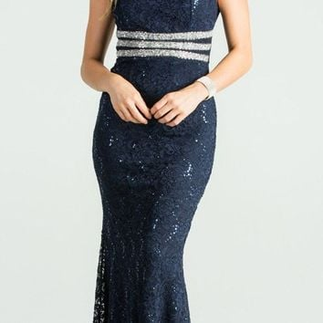 Navy Blue Embellished Off Shoulder Prom Gown Fit and Flare