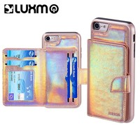 LUXMO Phone Case for iPhone 6 iPhone 6S Unicorn Pouch Case with Holographic Leather Finish Card Pocket Case Capa for iPhone 7 8