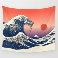 The Great Wave of Pug Wall Tapestry by Huebucket
