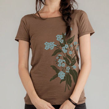 Women's Organic t-shirt, Forget Me Nots flowers, floral top, Alternative Earth Bark