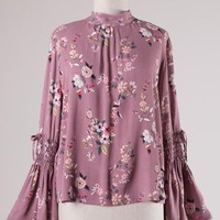 Floral Mock Neck Blouse