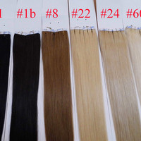 100g=50pcs/40pcs 18 20 22 24 inch Glue Skin Weft PU Tape in Human Hair Extensions INDIAN REMY huge stock 3-5 days delivery