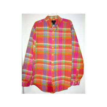 J CREW Mens Preppy Plaid Button Down Shirt vintage 80s 90s Hot Pink Orange Turquoise Yellow Blue Lime Green