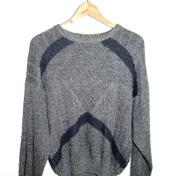 Retro vintage Soviet era men's grey jumper from the 1970s, knitted with triangular patterns