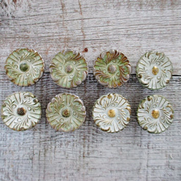 Drawer Knobs 8 Drawer Pulls Brass Knobs Cottage Chic Hardware Antique Hardware Dresser Pulls Cabinet Knobs Decorative Knobs Mid Century