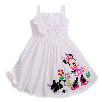 Authentic Disney Minnie Mouse and Figaro Sun Dress for Girls White Size:3