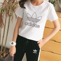 Adidas Casual  Pattern  Round Neck  Short Sleeve Edgy Fashion Two-Piece Suit Clothes