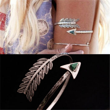 Bohemian Ethnic Upper Arm Bracelet Vintage Arrow Open Bangle Armlet Arm Cuff  Personality Bangle Z-197