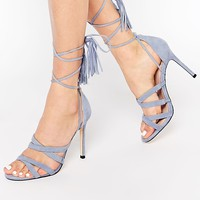 Faith Daft Pale Blue Suede Ghillie Tie Up Heeled Sandals at asos.com