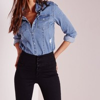 Missguided - Button Down Ripped Denim Shirt Vintage Blue