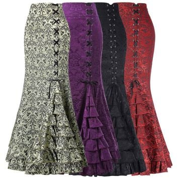 Women s Vintage Victorian Style Ruffled High Waist Fishtail Mermaid Maxi Skirts