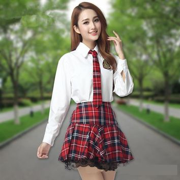 Korean School Uniform Suit Girls Performers Student Costume women's japanese School uniform Wear white shirt + Plaid skirt+Tie