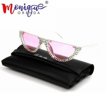 small cat eye sunglasses women Pink Clear Lens vintage Transparent Gradient Rhinestone
