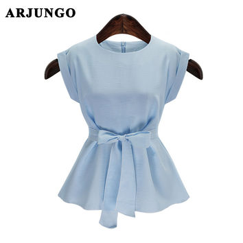 ARJUNGO 2017 Fashion Women Blouses Tunic Cotton Linen sleeveless Casual Women's Shirts Plus Size XXXXL 4XL Blusas  women tops