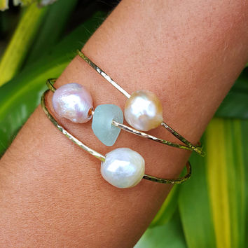 Mermaid Pearl Bangles, Edison pearls, pink pearls, iridescent pearls, gold filled bangle, Tahitian pearl bangles, sea glass bangles, hawaii