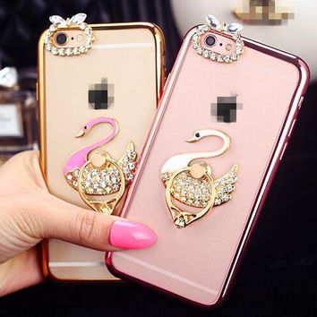 Crystal Stand Holder Metal Finger Ring Cell Phone Case Cover for iPhone 6 6s plus thin Soft TPU with Dust Plus itself