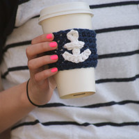 "Coffee Cup Cozy With Anchor / ""Seas The Day"" Anchor Cozy"