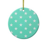 Mint Green And White Stars Christmas Ornament