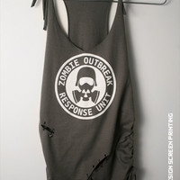 Women's Grey ZOMBIE shirt Outbreak Response Unit