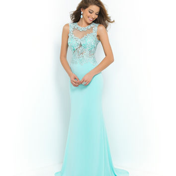 Blush Prom Aquamarine Sheer Illusion Beaded Lace Open Back Gown Prom 2015