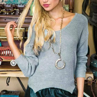 Blue V-Neck Asymmetrical Knitted Sweater