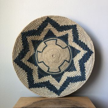 "Natural & Teal African Basket 13"" - 15"""