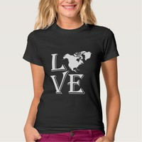 Love North America Continent Tee Shirt