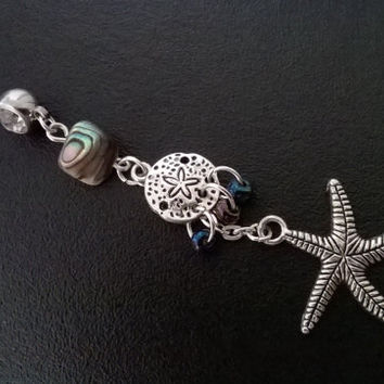 """Sand dollar and starfish 14 gauge stainless steel belly ring,navel ring in beach gypsy boho hippie belly dancer beach hipster 3"""" long"""