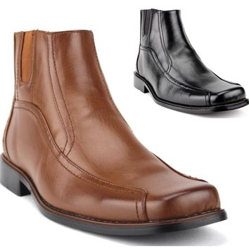 Men's Ankle High Square Toe Classic Chelsea Dress Boots