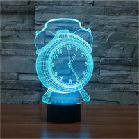 Alarm Clock Lamp 3D Visual LED Night Light for Kids Touch Button USB Desk Lampara