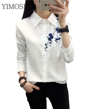 YIMOSI Autumn Women Embroidery Blouse White Shirts 2018 Casual Long Sleeve Cotton Shirts College Style Turn Down Collar Tops