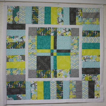 Modern Baby Quilt Wall Hanging Wheelchair Lap Blanket in Yellow Gray and Teal