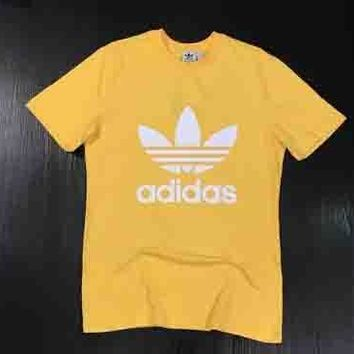 ADIDAS Fashion Yellow Sleeve Print Monogram Shirt Top Yellow