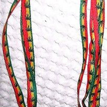 Thin Rasta Red Yellow Green Stripes MJ Weed Marijuana Leaves Punk Shoe Laces-New