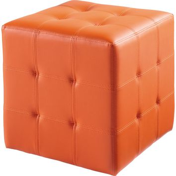 Dario Ottoman Orange Leatherette