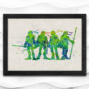 TMNT Watercolor Print Ninja Turtles Poster Art Print Baby Room Illustrations Room Super Hero Nursery Kids Room Gift Linen Poster CAP186