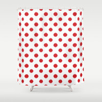 Shower Curtain - Red Ikat Polka Dot - Red and White - Housewarming Gift - Glamour Decor - Bathroom Shower Curtain - Teen Room Decor