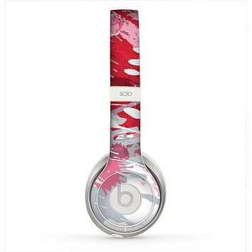 The Abstract Red, Pink and White Paint Splatter Skin for the Beats by Dre Solo 2 Headphones