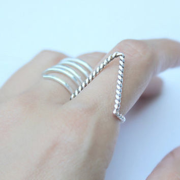$45.00 Chevron Sterling Silver Rope Arrow Ring by ElishaMarie on Etsy