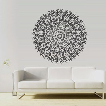 Wall Decal Vinyl  Mural Sticker Art Decor Bedroom Yoga Kitchen Ceiling Mandala Menhdi Flower Pattern Ornament Om Indian Hindu Buddha (z2882)