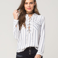FULL TILT Stripe Lace Up Womens Shirt | Shirts + Flannels