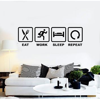 Vinyl Wall Decal Words Eat Work Sleep Repeat Table Decoration Stickers Mural (g1578)