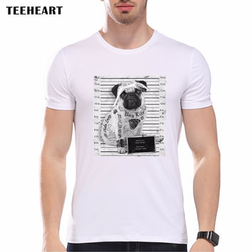 Funny Vintage Men Bad Dog Pug Police Dept Design Printed T Shirt Summer Tattoo Short Sleeve Tee Shirt Tops
