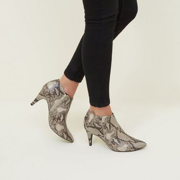 White Faux Snakeskin Stiletto Heel Ankle Boots | New Look